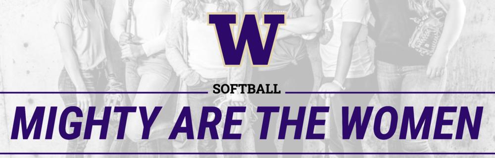 """Mighty are the Women"" UW Softball logo 2021"