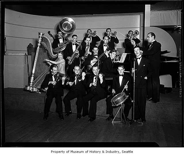 Vic Meyers with his band, probably in Seattle, 1934