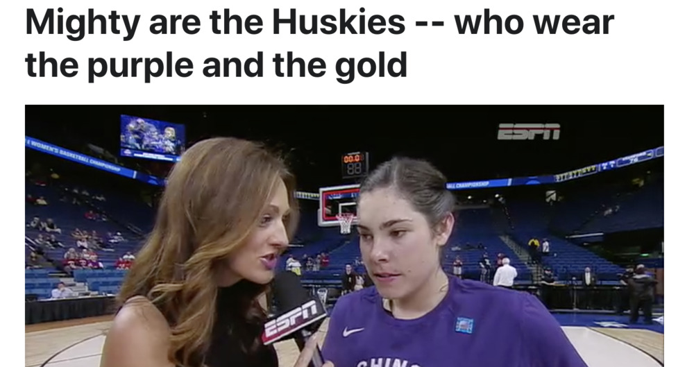 Mighty are the Huskies -- who wear the purple and the gold