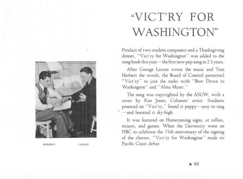 Vict'ry for Washington article in Tyee Yearbook